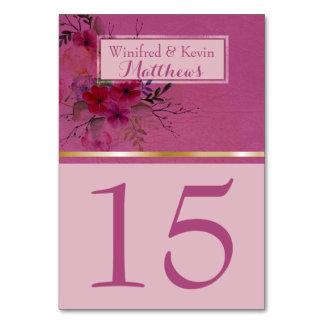 De Lijst Nummer | van het huwelijk Elegante Roze Kaart