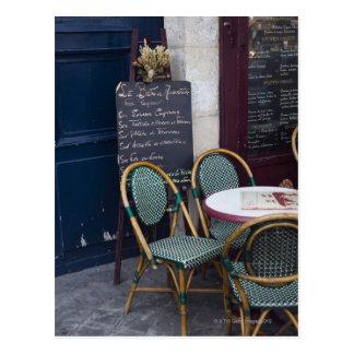 De lijst van de koffie met rieten stoelen in briefkaart