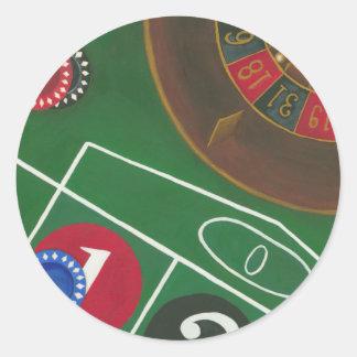 De Lijst van de roulette met Spaanders en Wiel Ronde Sticker