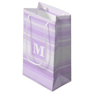 De lila strepen van het monogram klein cadeauzakje