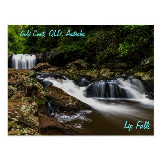 De Lip van watervallen valt Gouden Kust Australië Briefkaart