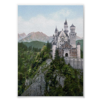 De Lithografie van het Kasteel van Neuschwanstein Poster