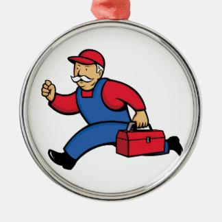 De Lopende Cartoon van de Technicus van Aircon Zilverkleurig Rond Ornament