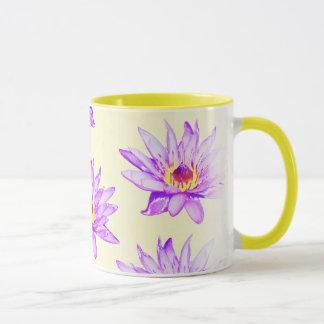 de lotusbloem bloemen romen met inkt besmeurd af mok