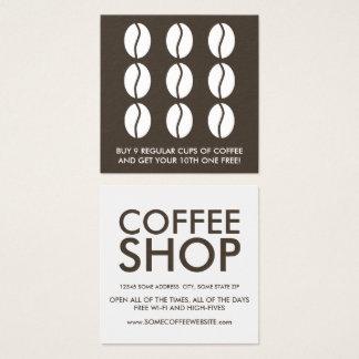 de loyaliteit van koffiebonen vierkant visitekaartjes