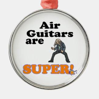 de lucht gitaren zijn super zilverkleurig rond ornament