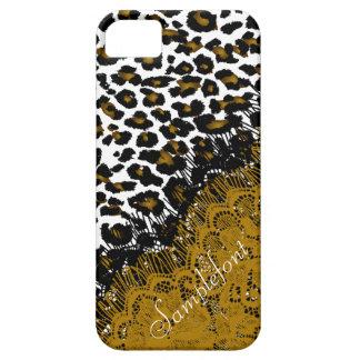 De luipaardvlekken van PixDezines/faux kant Barely There iPhone 5 Hoesje