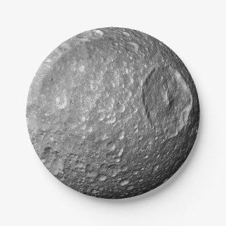 De Maan Mimas van Saturn Papieren Bordje