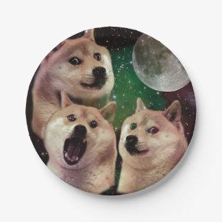 De maan van de doge - dogeruimte - hond - doge - papieren bordje