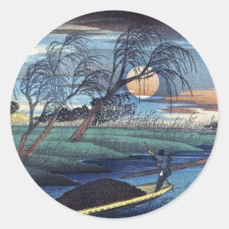 De Maan van de herfst in Seba, Hiroshige Ronde Sticker