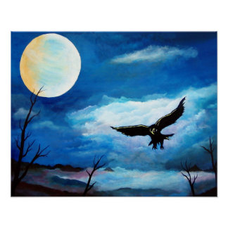 De Maan van de Nacht van de Havik van de jacht Poster