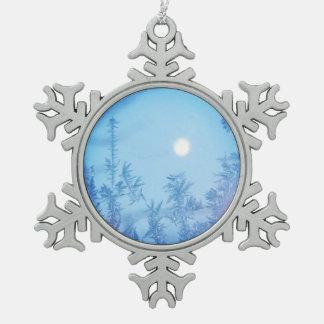 De maan van de winter tin sneeuwvlok ornament