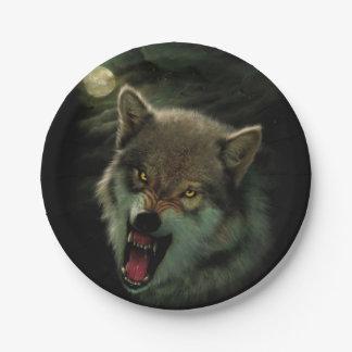 De maan van de wolf papieren bordjes