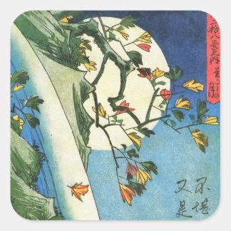 De Maan van Hiroshige over een Japans Fijn Art. Vierkante Sticker