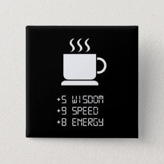 De Macht van de koffie omhoog Vierkante Button 5,1 Cm