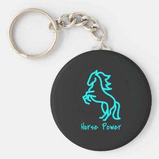 De Macht van het paard in Blauw Sleutelhanger