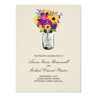 De Madeliefjes en de Zonnebloemen van de Kruik van 16,5x22,2 Uitnodiging Kaart
