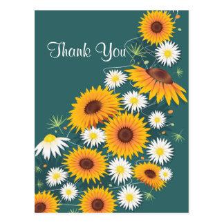 De Madeliefjes van zonnebloemen danken u Briefkaart