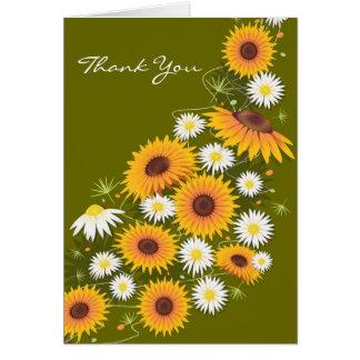 De Madeliefjes van zonnebloemen danken u Wenskaart