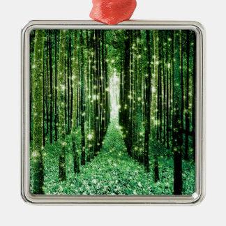 De magische Geheimzinnigheid van Forest Green Zilverkleurig Vierkant Ornament