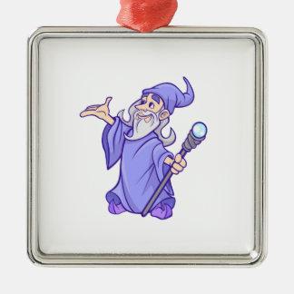 De magische paarse tovenares van de zilverkleurig vierkant ornament