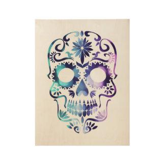 De magische schedel van de Suiker in paarse nevel Houten Poster