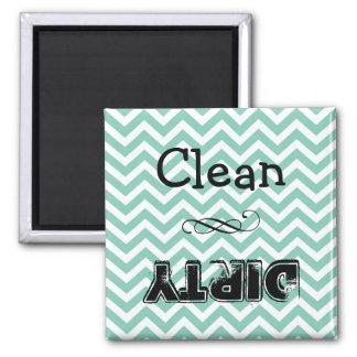 De magneet van de afwasmachine: schoon of vuil
