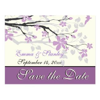 De magnolia met paars bloemenhuwelijk bewaart de briefkaart