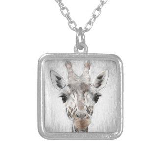 De majestueuze Giraf beeldde geselecteerd met Zilver Vergulden Ketting