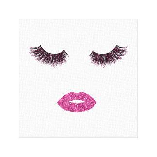 De make-up met schittert effect canvas afdrukken