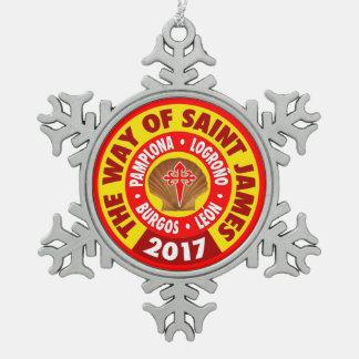 De manier van Heilige James 2017 Tin Sneeuwvlok Ornament