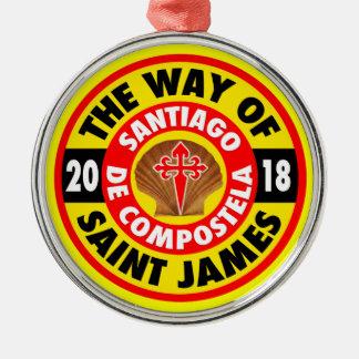 De manier van Heilige James 2018 Zilverkleurig Rond Ornament