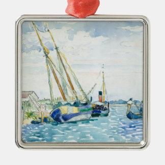 De mariene Boten van de Scène dichtbij Venetië Zilverkleurig Vierkant Ornament