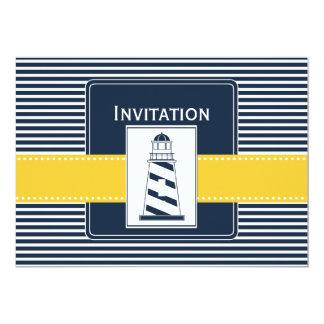 de marine strepen, vuurtoren, zeevaarthuwelijk nod persoonlijke uitnodigingen