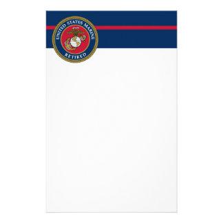 De Marine van de V.S. - Teruggetrokken Blauw Briefpapier