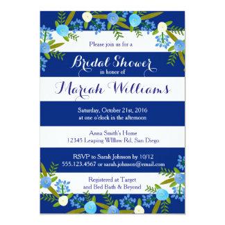 De marineblauwe Bloemen Bruids Uitnodiging van de