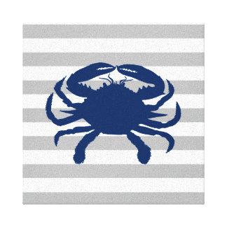 De marineblauwe Grijze en Witte Strepen van de Canvas Afdruk