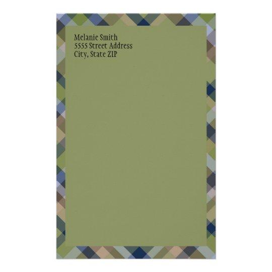 De marineblauwe Groene Bruine Geruite Briefpapier