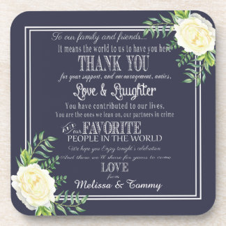 De marineblauwe gunsten van het Huwelijk danken u Drankjes Onderzetters