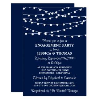 De marineblauwe Moderne Partij van het Verloving 12,7x17,8 Uitnodiging Kaart