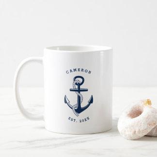 De marineblauwe Zeevaart Gepersonaliseerde Mok van