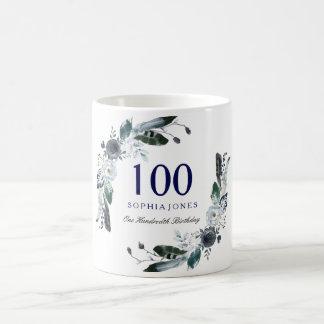 De marineblauwe Zwarte Witte Bloemen 100ste Gift Koffiemok