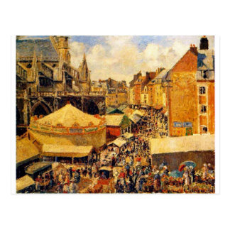 De markt in Dieppe, Zonnige Ochtend door Camille Briefkaart
