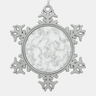 De marmer Grijs-witte Marmeren Achtergrond van het Tin Sneeuwvlok Ornament
