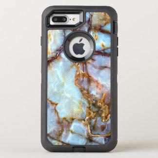 De marmeren Gouden Textuur van de Steen | Mode en OtterBox Defender iPhone 8 Plus / 7 Plus Hoesje