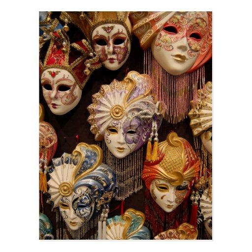 De Maskers van Carnaval in Venetië Wenskaarten