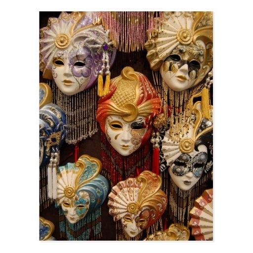 De Maskers van Carnaval in Venetië Italië Wens Kaarten