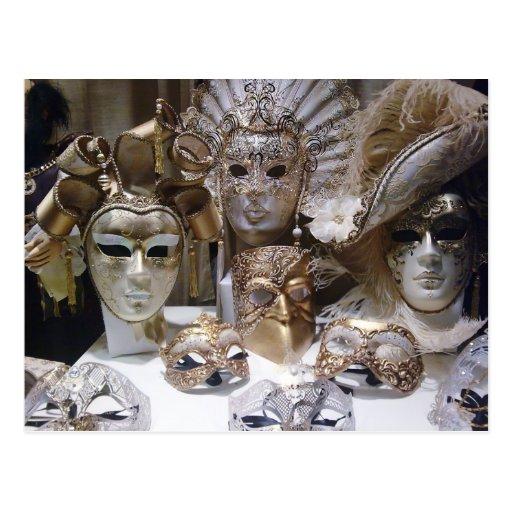 De Maskers van Venetië Carnaval Wens Kaarten