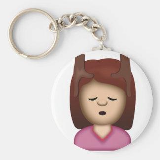 De Massage Emoji van het gezicht Basic Ronde Button Sleutelhanger
