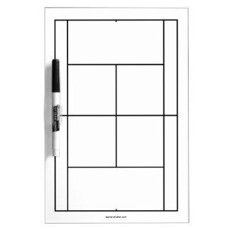 De materialen van de tennisbaan voor lessen   whiteboard